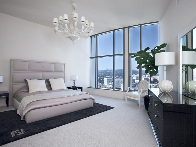 Modern white apartment bedroom