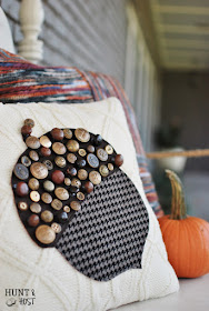 Vintage button acorn pillow