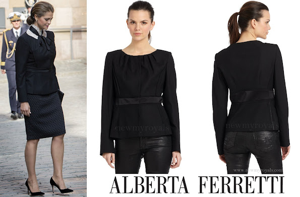 Princess Madeleine wears Alberta Ferretti Pleated Neck Wool Blend Jacket