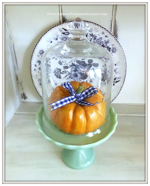 Fall Dining Room-French Country-Blue and White-Transferware-Cupcake Stand-Pumpkin-From My Front Porch To Yours