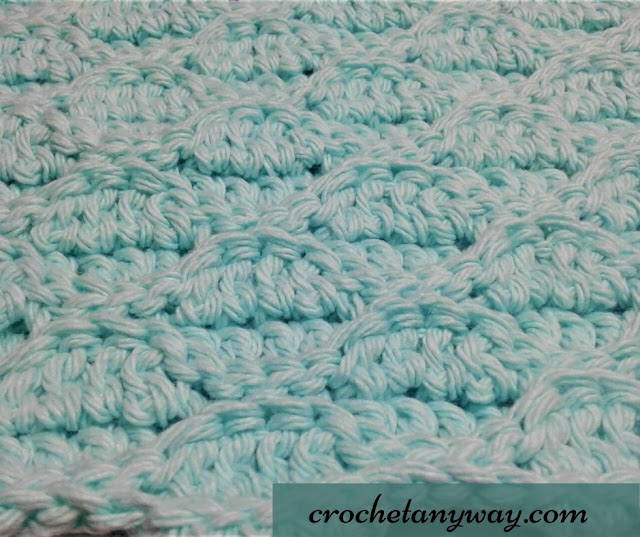 crochet wave stitch in pale blue