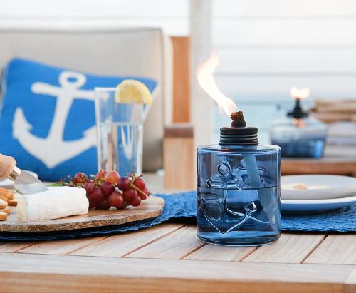 Nautical Blue Glass Tabletop Tiki Torch Lights