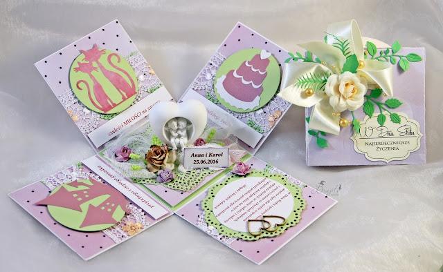 ślubny exploding box, na ślub, prezent, co dać od świadków na wesele, życzenia ślubne, Magiczna Kartka Magia Ombre