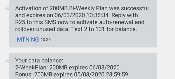 MTN 200mb N50 Double