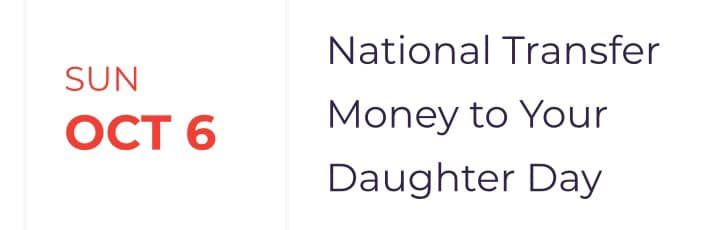 National Transfer Money to Your Daughter Day Wishes