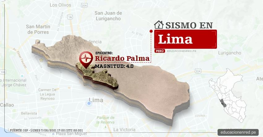 Temblor en Lima de Magnitud 4.0 (Hoy Lunes 7 Junio 2021) Sismo - Epicentro - Ricardo Palma - Huarochiri - IGP - www.igp.gob.pe