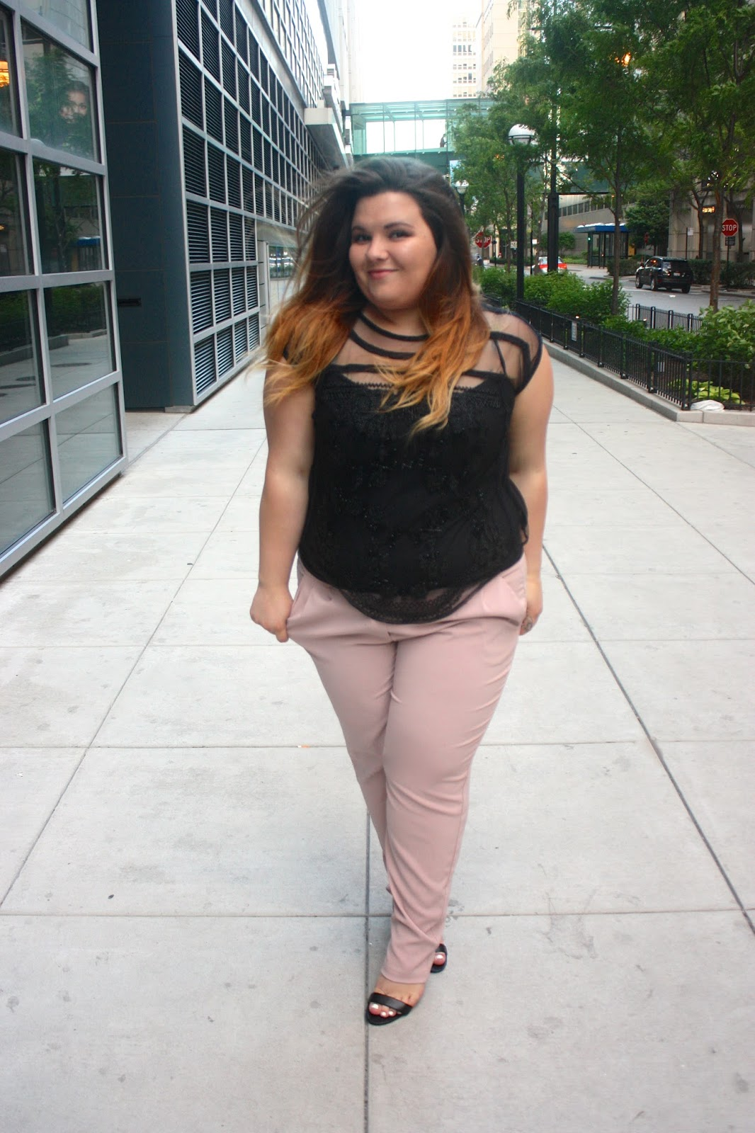 harem pants, plus size fashion, ps fashion, natalie craig, natalie in the city, chicago, fashion blogger, blush pants, beaded blouse, fatshion, fox's, TJ MAXX,