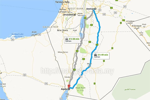 Distance from Amman to Aqaba
