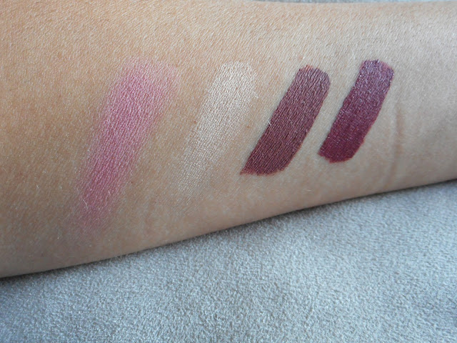 Colourpop Swatches L-R: Blush in Birthday Suit, Highlighter in Lunch Money, Beeper and Baracuda Lipsticks