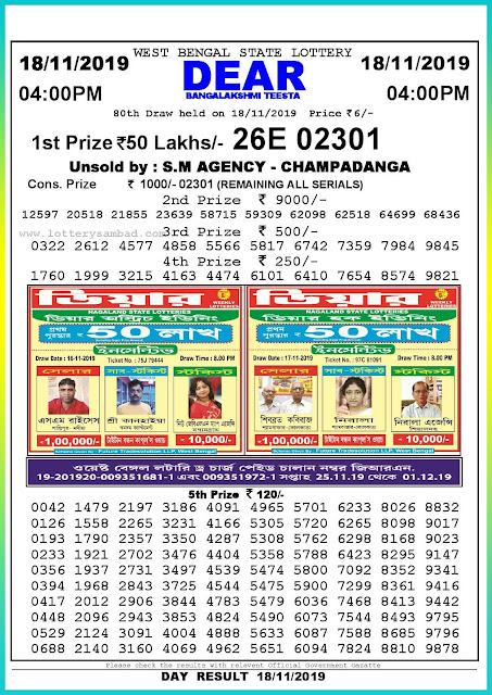 18-11-2019 West Bengal State Lottery Result 04.00 PM-lotterysambadresults.com