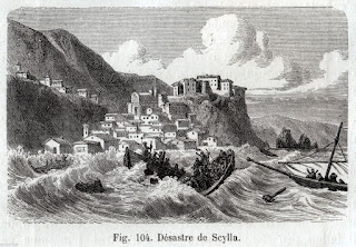 This engraving shows the tsunami crashing into the  fishing village of Scilla, with boats capsizing