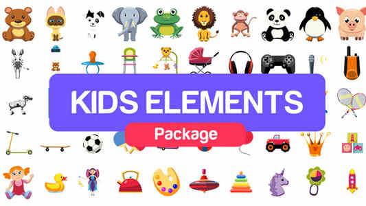 قالب افتر افكت مجاني - باكج ايقونات وعناصر للأطفال - CS5.5 فأعلى