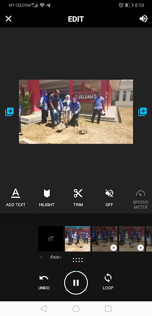 Untuk Advance Editing dalam QUIK, boleh lah klik pada klip yang nak diubah