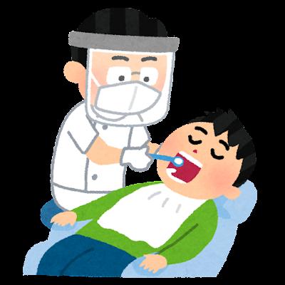 フェイスシールドを付けた歯科医のイラスト(男性)