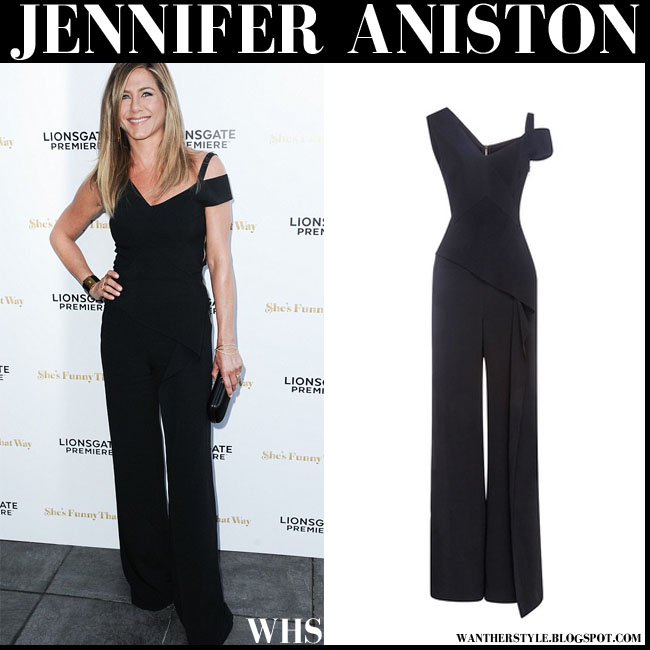 Jennifer Aniston In Black Asymmetric Roland Mouret Jumpsuit Red Carpet What She Wore