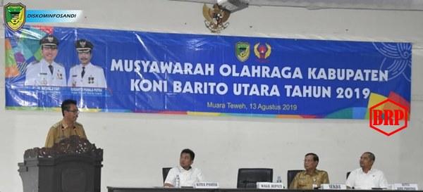Wakil Bupati Barut Buka Musorkab KONI Barito Utara Tahun 2019