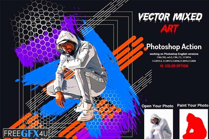 Vector Mixed Art Photoshop Action