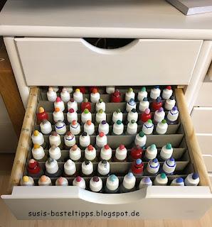 Ordnungssystem für Stampin' Up! Nachfüllflaschen, Farbindex, sortieren, aufbewahrung, diy, nachfüller, schublade, alphabetisch, bestellen, demonstratorin, coburg