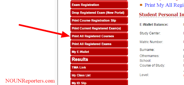 Print All Noun Registered Courses