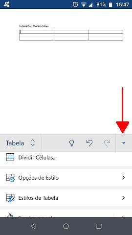 Opções para formatar a tabela criada