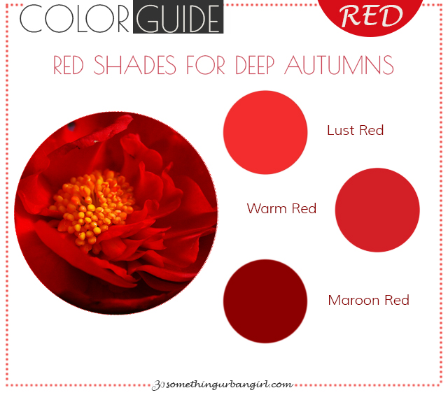 The best red color shades for Deep Autumn seasonal color women