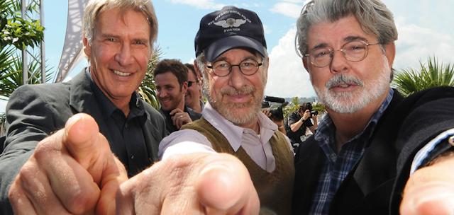 Harrison Ford, Steven Spielberg şi George Lucas creatorul personajului Indiana Jones
