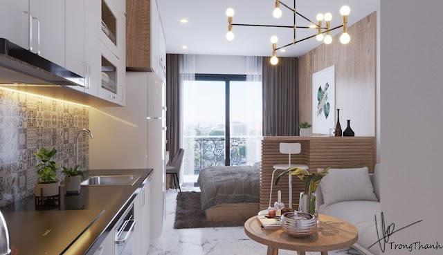 Nội thất căn hộ studio tông trắng nhẹ nhàng kèm model su