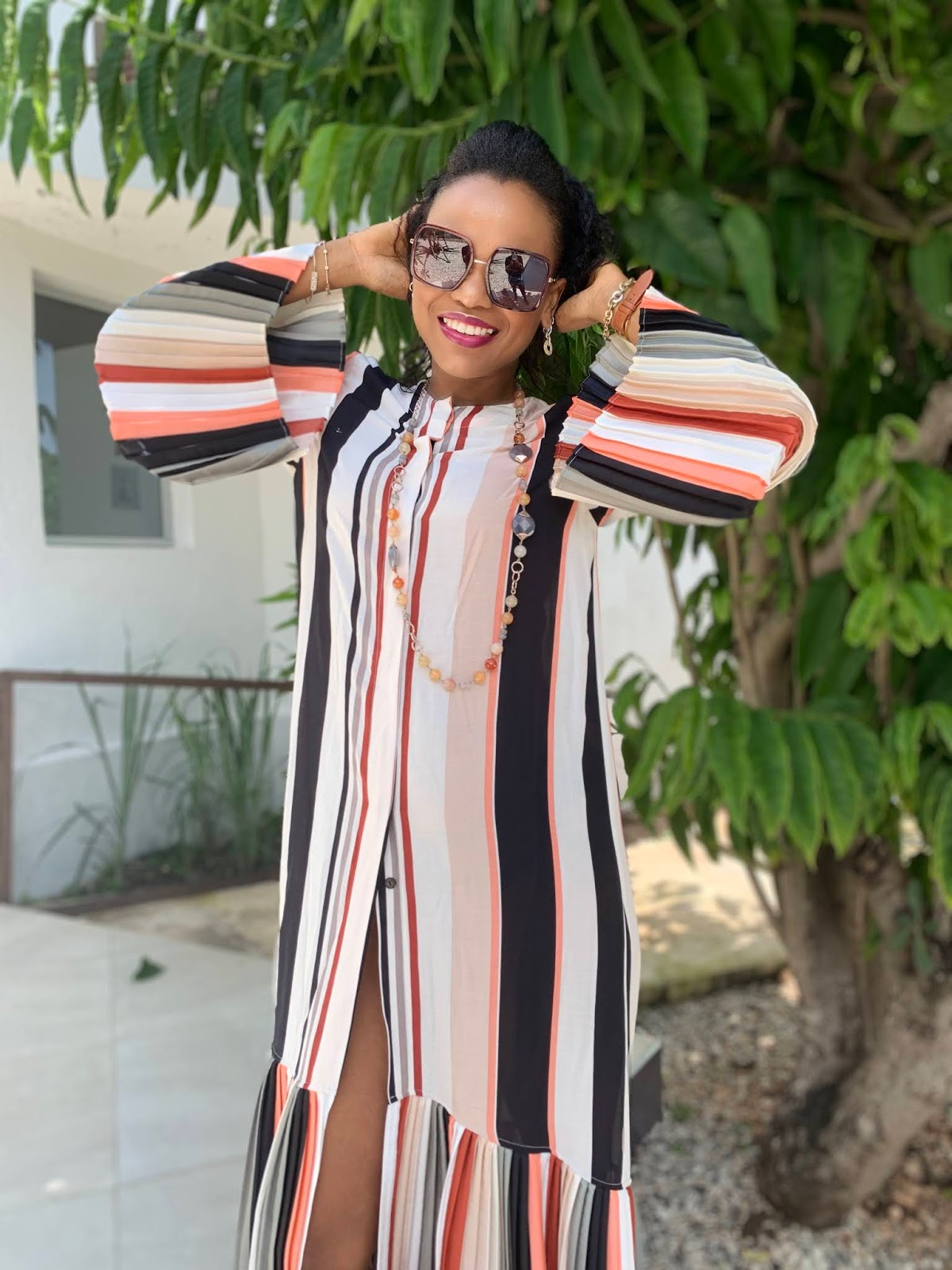 Fashion blogger Iris from La Mousmous in striped dress featured as Most Clicked at Is This Mutton #WowOnWednesday link up