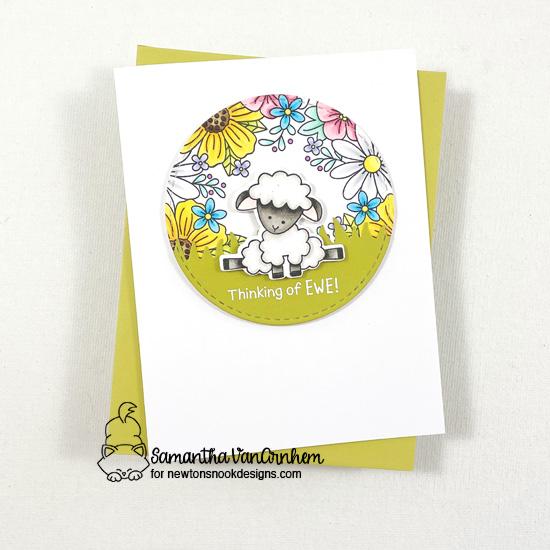 Thinking of Ewe card by Samantha VanArnhem | Baa Stamp Set, Floral Fringe Stamp Set, Circle Frames Die Set and Land Borders Die Set by Newton's Nook Designs #newtonsnook #handmade