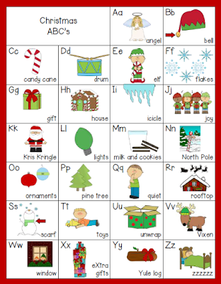 ABCs of Christmas.  Use this card as a springboard for writing, reading, and vocabulary lessons.