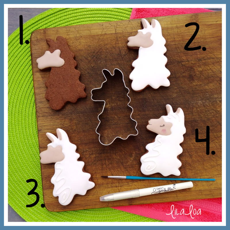 Llama head cookie decorating tutorial - step by step