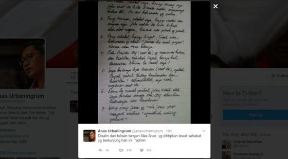 Balasan Pedas Annas Urbaningrum Tentang Curhat SBY di Twitter