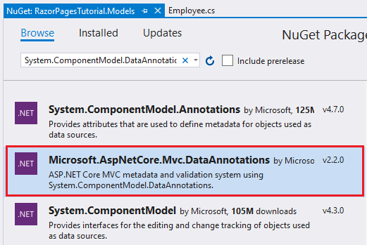 nuget package manager in visual studio 2019