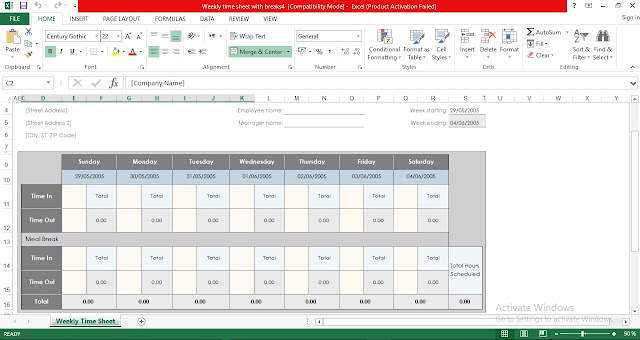 Weekly Time Sheet With Breaks Excel Template Free Download