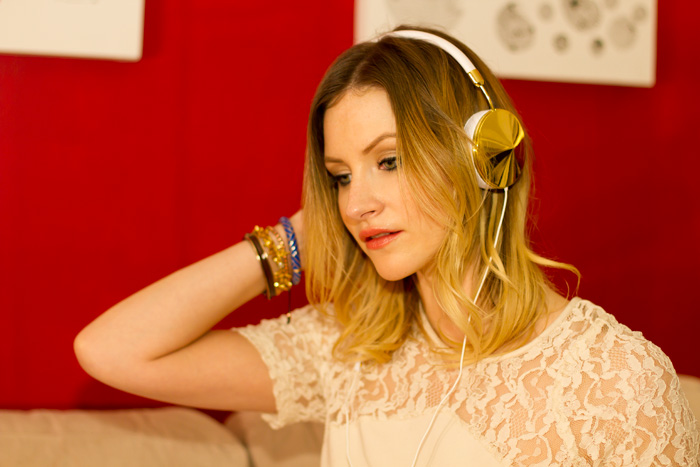 Vancouver Fashion Blogger, Alison Hutchinson, wearing Frends Taylor Headphones in Gold, Urban Outfitters cream lace dress and leopard print dress, Zara western boots, Stella & Dot, J Crew, Givenchy and True Worth Design Bracelets