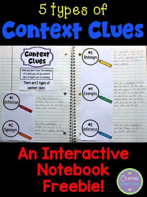 Context Clues Interactive Notebook FREEBIE- Students can write their own example sentence to show their understanding of each type of context clue.