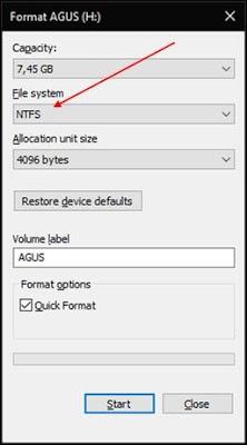 Gambar ilustrasi tampilan format flashdisk di windows 10