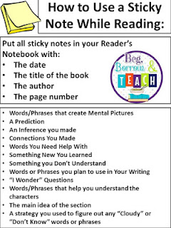 Accountability Activities for Read-Alouds: Using Sticky Notes to check for reading comprehension