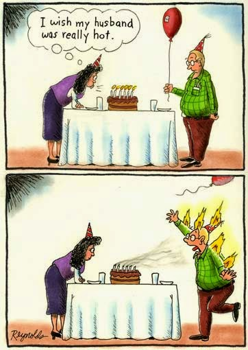 Funny hot husband birthday wish joke cartoon picture
