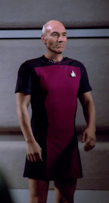 Captain Picard wearing TNG skant uniform