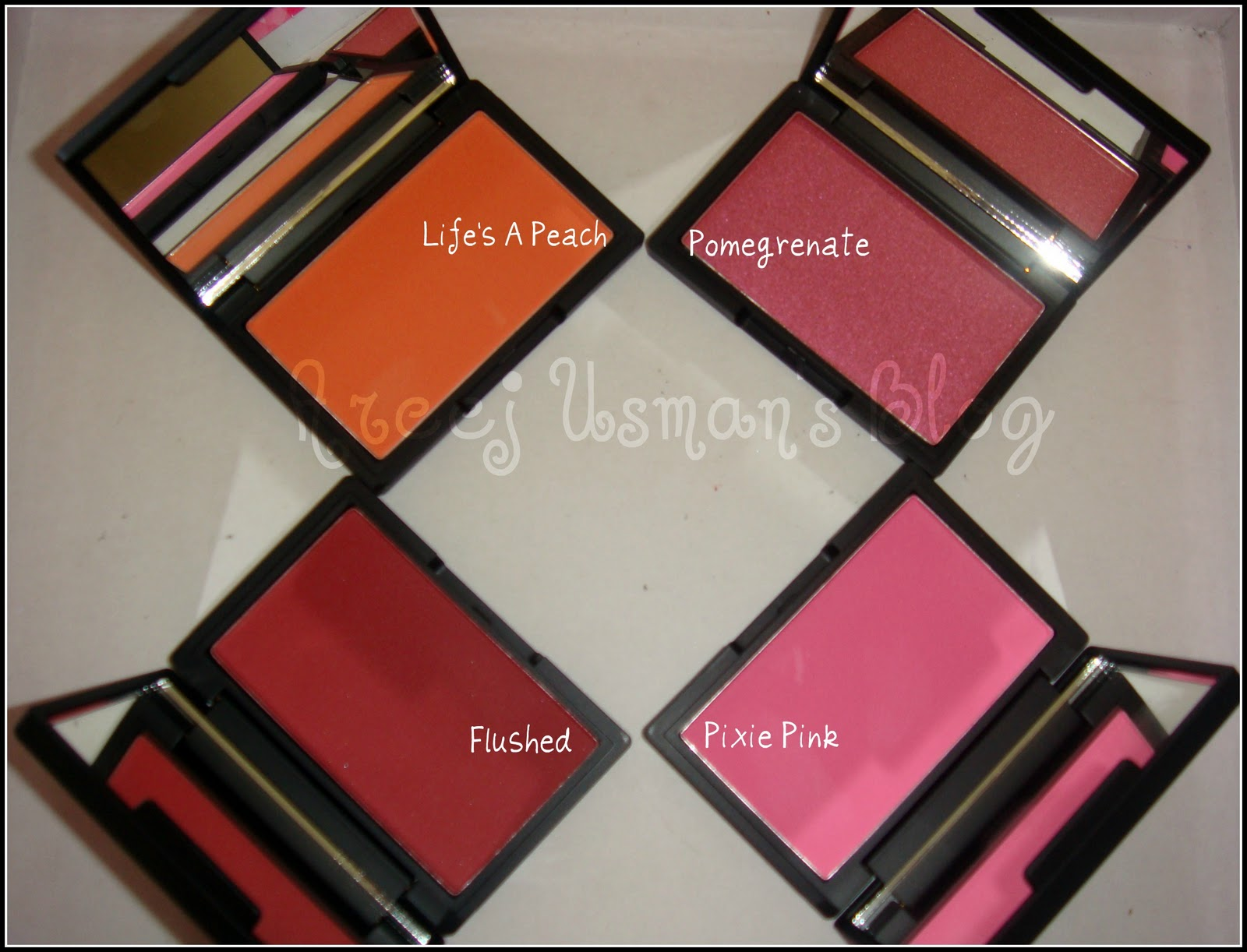 Here are the swatches for the blushers: