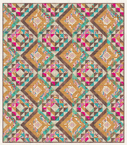 Zellige Quilt designed byLive art gallery fabrics, featuring Marrakesh Fusion Collection