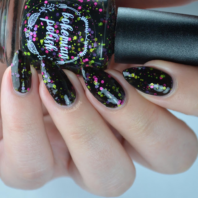 black jelly with neon glitter