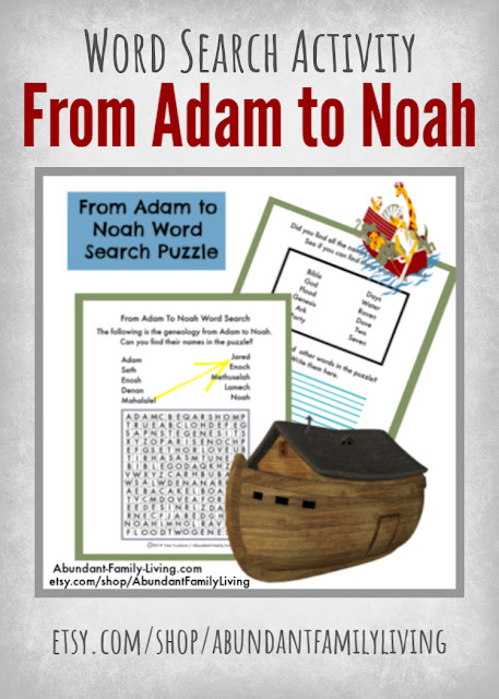 Word Search Puzzle for Kids - The Genealogy from Adam to Noah - Pinterest