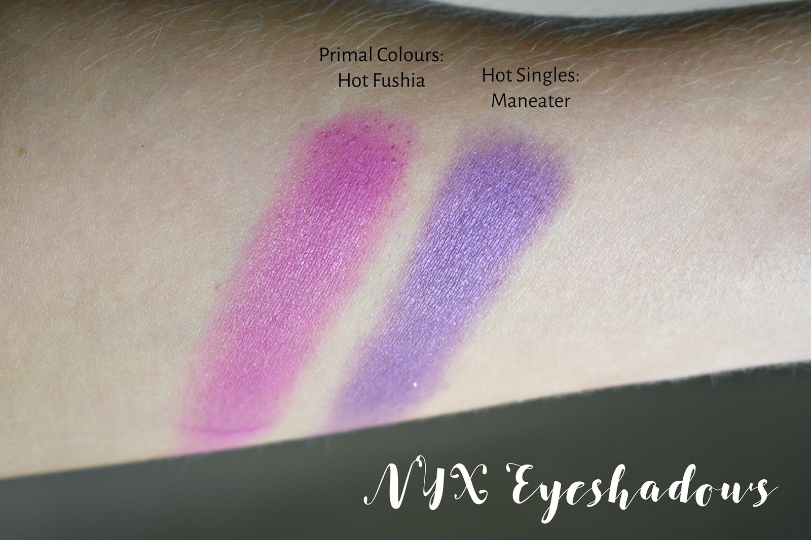 NYX primal colour in Hot Fushia and Hot singles eyeshadow in Maneater swatches
