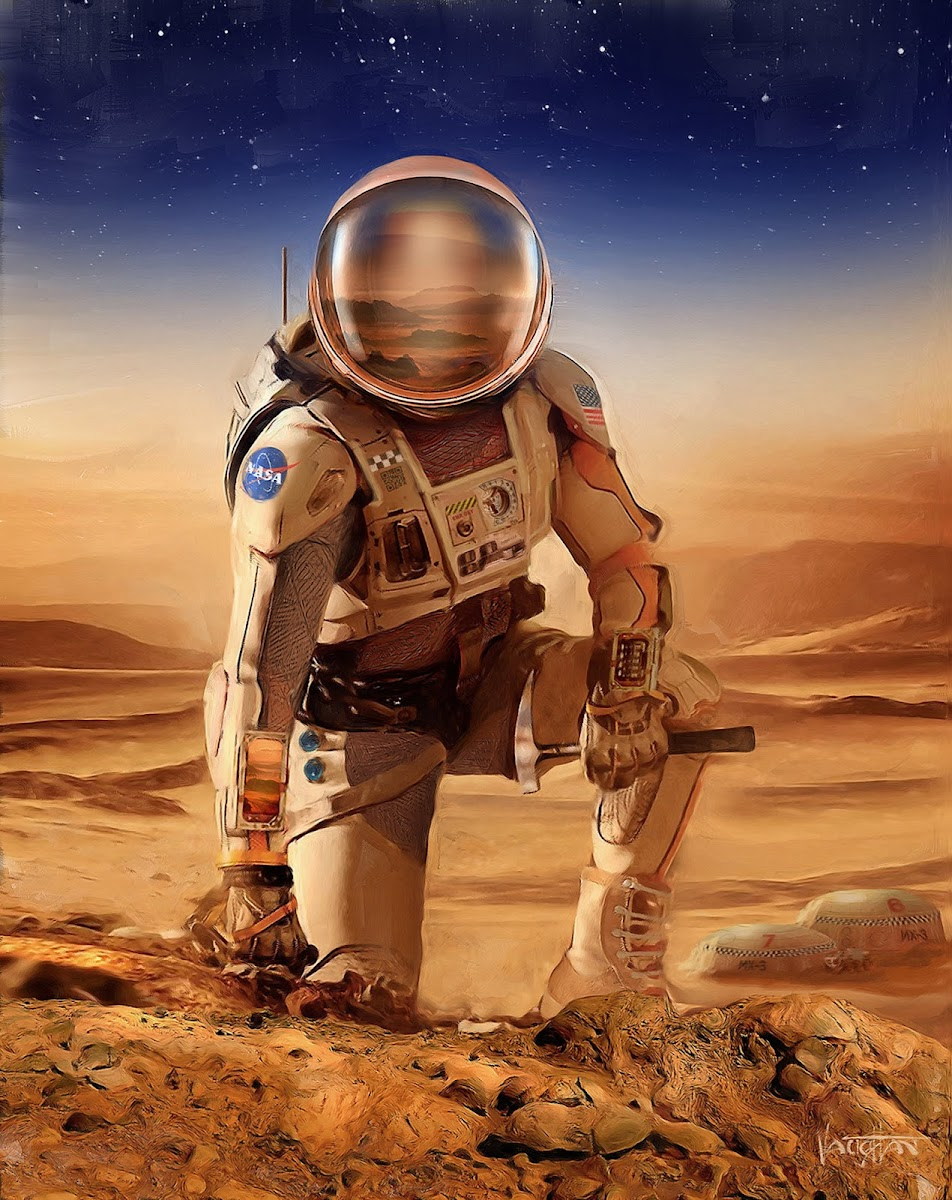 NASA astronaut on Mars by James Vaughan