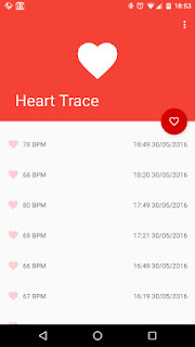 Heart Trace Screenshot: Dokumentierte Messungen