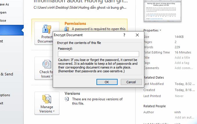 xóa mật khẩu trong word