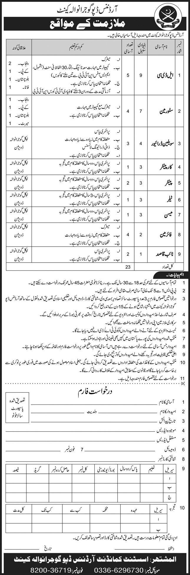 Pak Army Ordnance Depot Gujranwala Cantt Jobs 2020 in Pakistan 2020 - Download Job Application Form