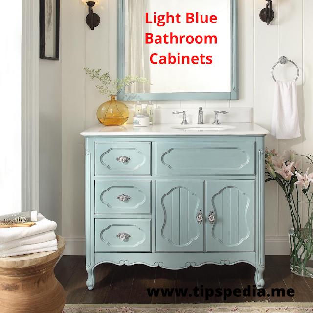 light blue bathroom cabinets